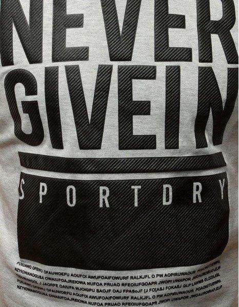 Svetlošedé tričko s textom NEVER GIVEIN