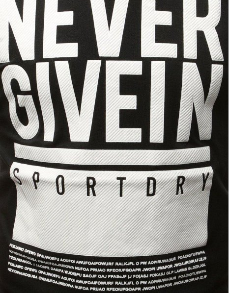 Čierne tričko s textom NEVER GIVEIN