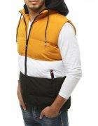 Žltá prešívaná vesta s kapucňou