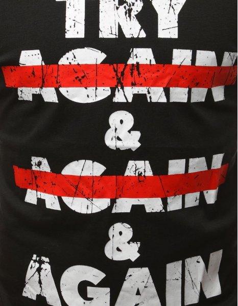 Čierne tričko s potlačou Try Again