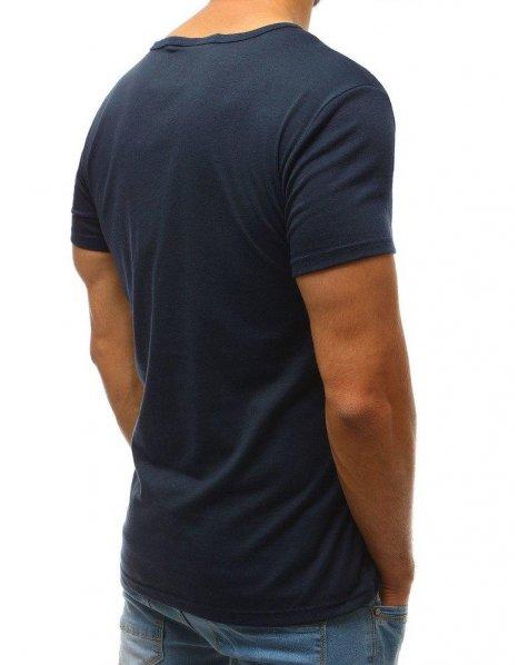 Pánske tmavomodré tričko bez potlače