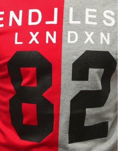 Červeno-šedé tričko s potlačou 82