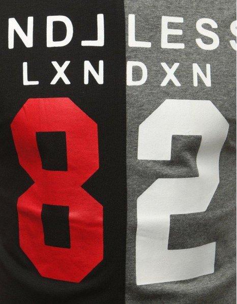 Čierno-šedé tričko s potlačou 82