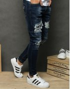 Džínsovo modré viazané tenisky fashion
