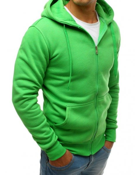 Pánska zelená mikina s kapucňou a zipsom
