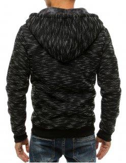 Tmavomodrá prešívaná pánska vesta s kapucňou