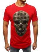 Pánske červené tričko s potlačou lebky
