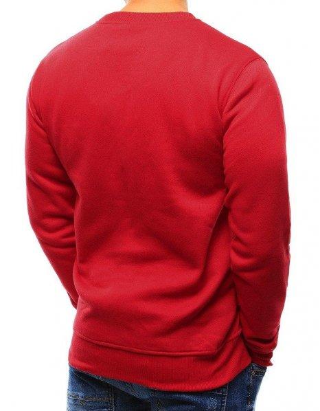 Červená pánska hladká mikina