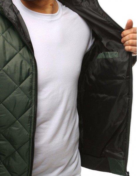 Pánska prechodná prešívaná zelená bunda