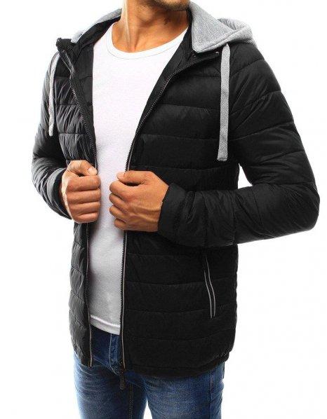 Pánska čierna prešívaná bunda s kapucňou