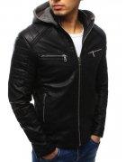 Čierna kožená pánska bunda