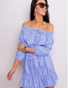 Modré šaty Nathalie s pásikmi