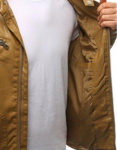Pánska hnedá kožená bunda