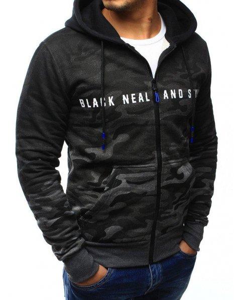 Čiernografitová mikina Back Neal And Style s kapucňou