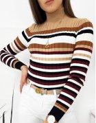 Šedý pánsky sveter s vodorovnými pásmi
