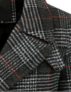 Hnedý dvojradový kockovaný pánsky kabát
