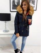 Tmavomodrá pánska bunda s kapucňou a tromi zipsami
