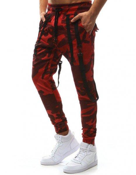 Pánske maskáčové červené jogger nohavice