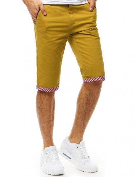 Pánske džínsové horčicové kraťasy