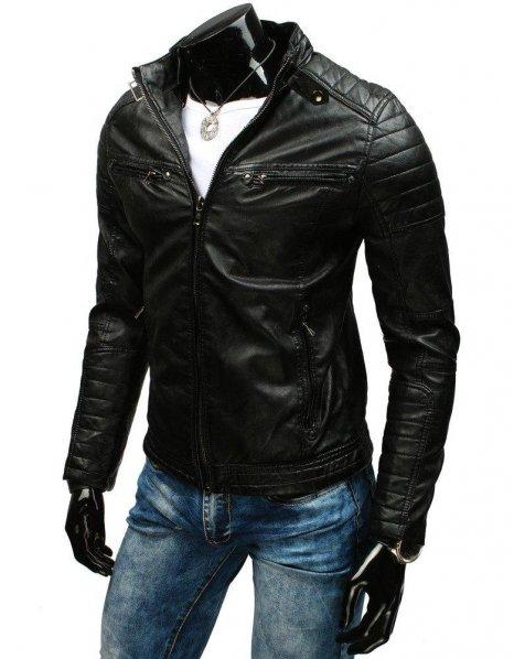 Čierna koženková bunda