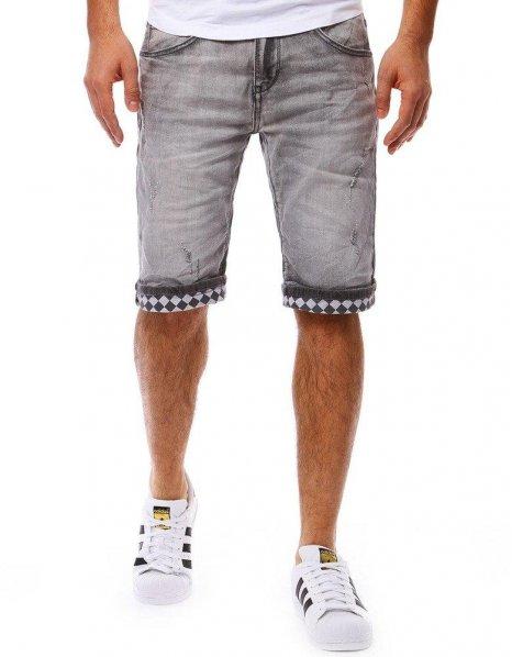 Pánske šedé džínsové kraťasy