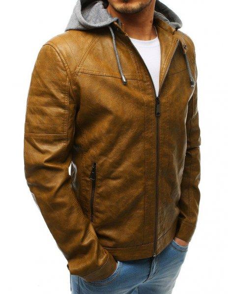 Hnedá kožená pánska bunda