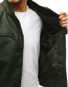 Zelená kožená pánska bunda