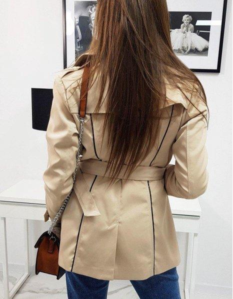 Dámsky dvojradový kabát krémový