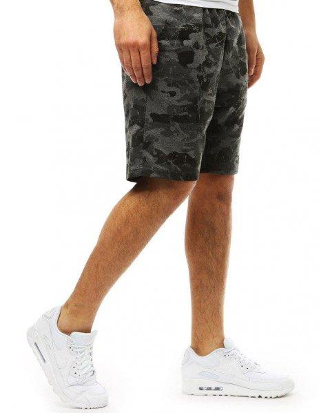 Pánske krátke maskáčové grafitové nohavice