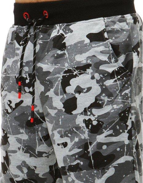 Pánske krátke maskáčové šedé nohavice