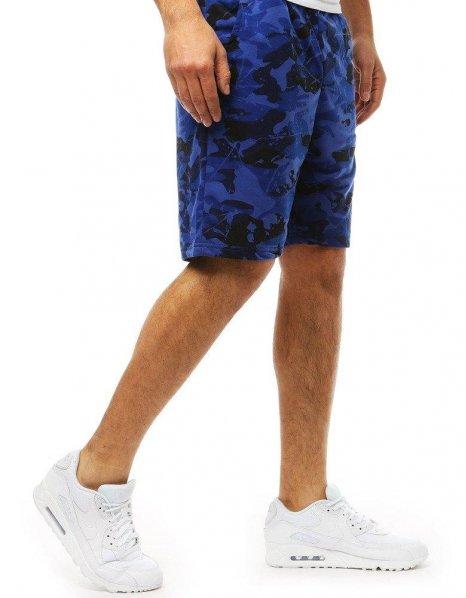 Pánske krátke maskáčové modré nohavice