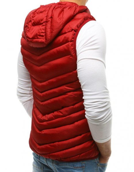Bordová pánska vesta s kapucňou