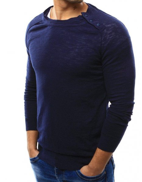 Tmaovmodrý pánsky sveter
