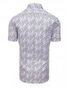 Biela pánska elegantná košeľa so vzormi a krátkym rukávom
