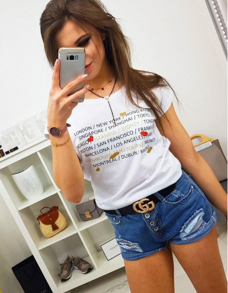 Dámske tričko City s potlačou biele