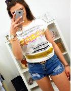 Smotanové dámske tričko s potlačou