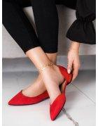 Sandále na zips v červenej farbe