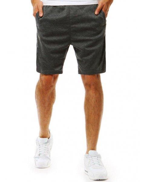 Pánske krátke antracitové teplákové nohavice