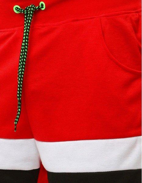 Pánske krátke červené teplákové nohavice