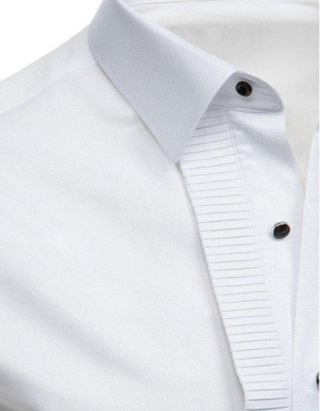 Biela smokingová košeľa s plisovým prekladom