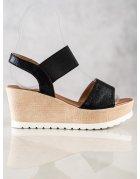 Čierne semišové ploché sandále