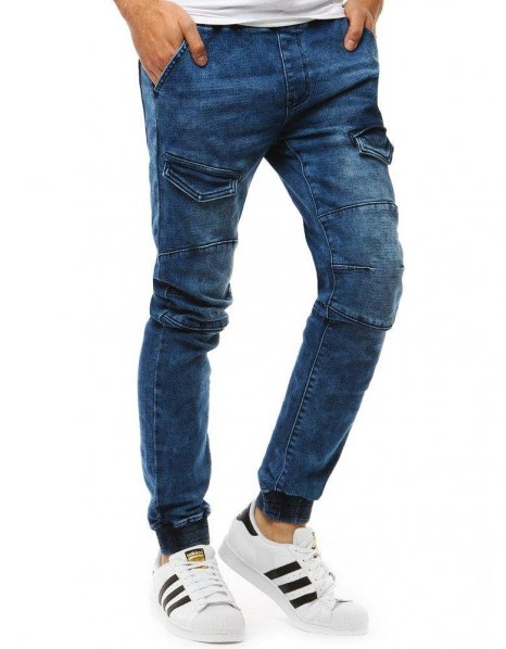 Pánske modré joggery s džínsovým vzhľadom