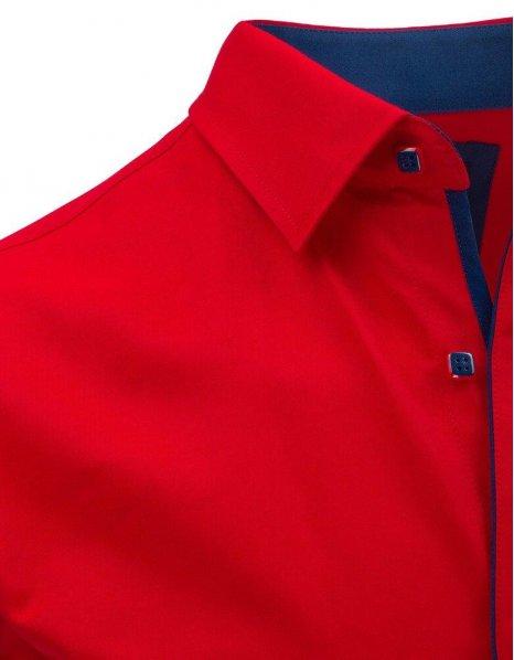 Červená pánska elegantná košeľa s krátkym rukávom