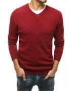 Pánsky bordový sveter s výstrihom do V