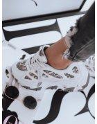 Strieborné textilné nazúvacie športové topánky