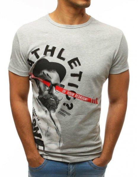 Pánske svetlo-šedé tričko s potlačou