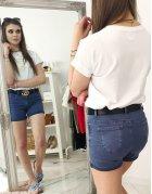 Tmavomodré dámske džínsové nohavice