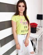 Limetkové dámske tričko s potlačou