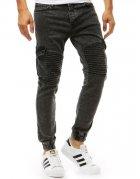 Čierne pánske džínsové nohavice joggery