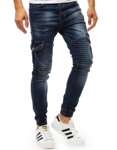Tmavomodré pánske džínsové nohavice joggery